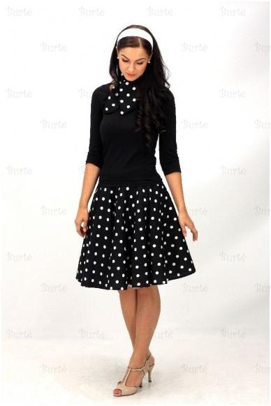 50-tųjų stiliaus sijonas, juodas