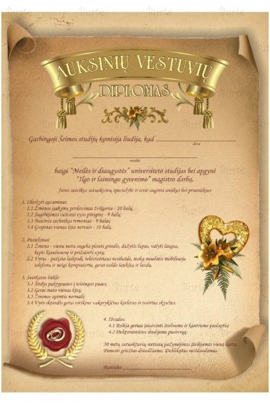 Auksinių vestuvių diplomas