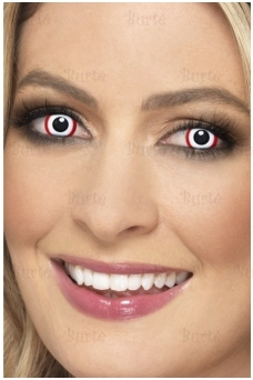 White eye lenses  with red stripe