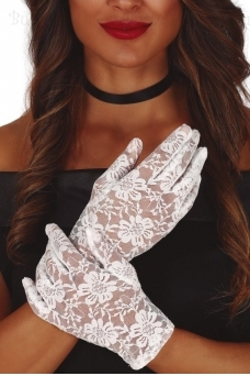 White laced gloves