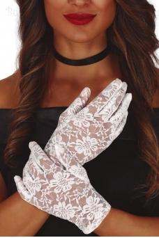 Гипюровые перчатки, белые