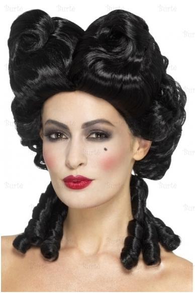 Gotikinis baroko perukas, juodas