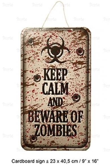 "Helovino iškaba ""Keep calm and beware of zombies"""