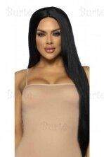 Ilgų, juodų plaukų perukas