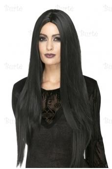 Ilgų juodų plaukų perukas