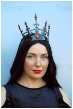 Black crown with red jewels