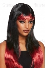 Bleeding Dip Dye Wig, Black & Red