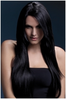 Juodų plaukų perukas Amber