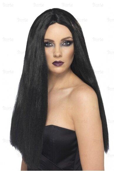 Juodų plaukų perukas