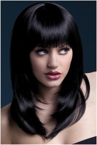 Juodų plaukų perukas Tanja
