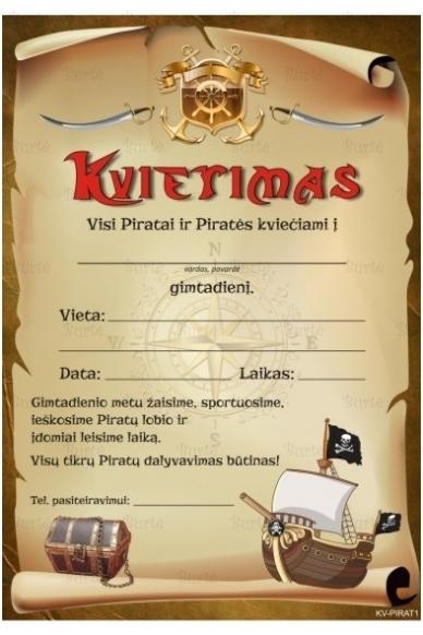 Kvietimas į piratų gimtadienį