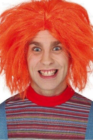 Oranžinis disko perukas (neon orange)