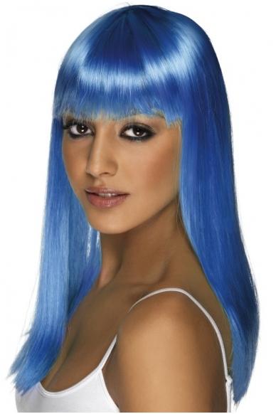 Mėlynų plaukų perukas