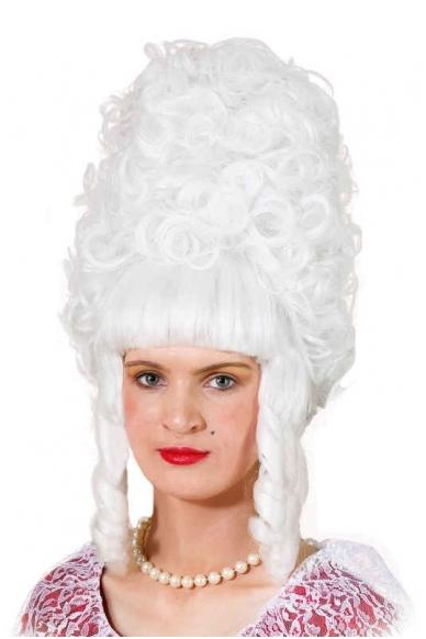 Ponios Pompadur perukas, baltas