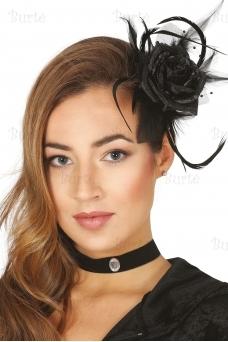 Black flower hairclip