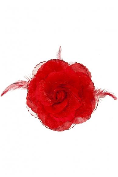 Заколка цветок, красная 2