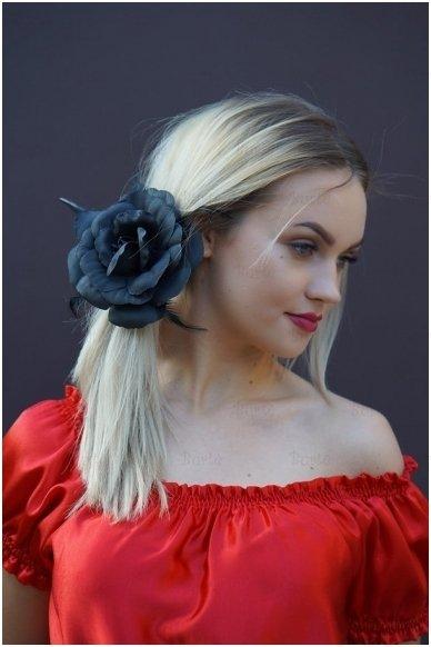 Заколка цветок, черная