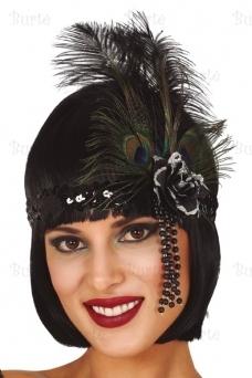 Black headband with feathers