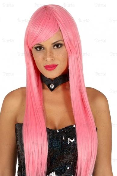 Rožinės spalvos perukas