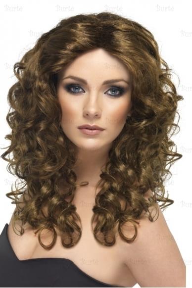 Rudas ilgų plaukų perukas