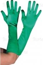 Satininės žalios pirštinės