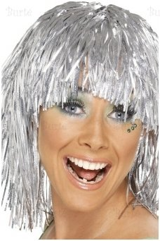 Cyber Tinsel Wig, Silver