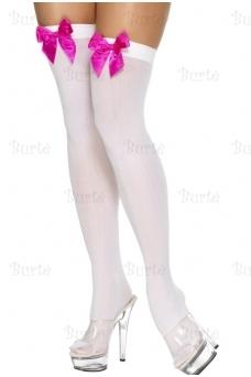 Baltos kojinės su kaspinėliais