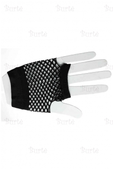 Net gloves, fingerless, Short, Black