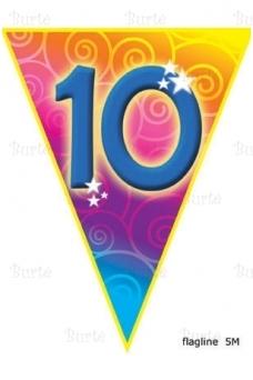 Vėliavėlių girlianda dešimtojo gimtadienio proga