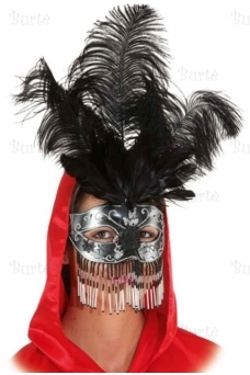 Half mask with feathers and pearls
