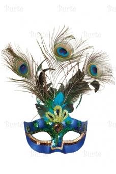 Venecijos kaukė su povo plunksnomis
