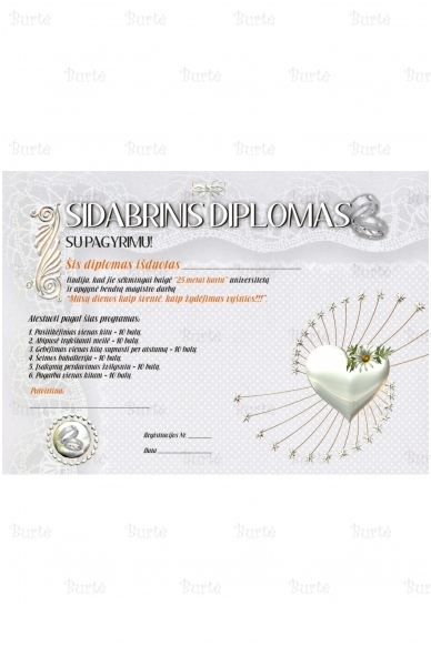 Vestuvių metinių diplomas