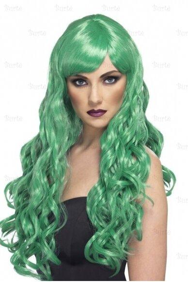Žalių plaukų perukas